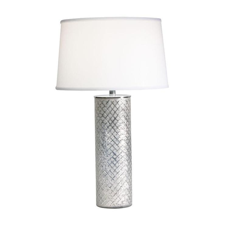 Lattice mercury glass silver table lamp mozeypictures Choice Image