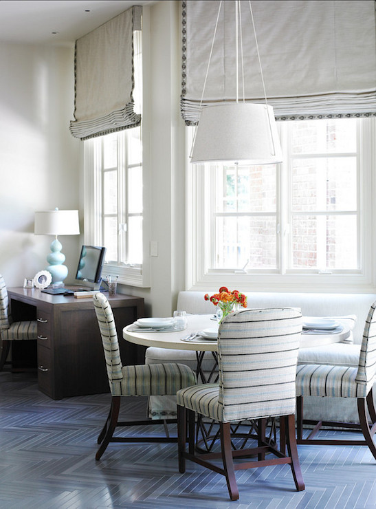 Cottage Dining Nook With Gray Striped Banquette Sofa