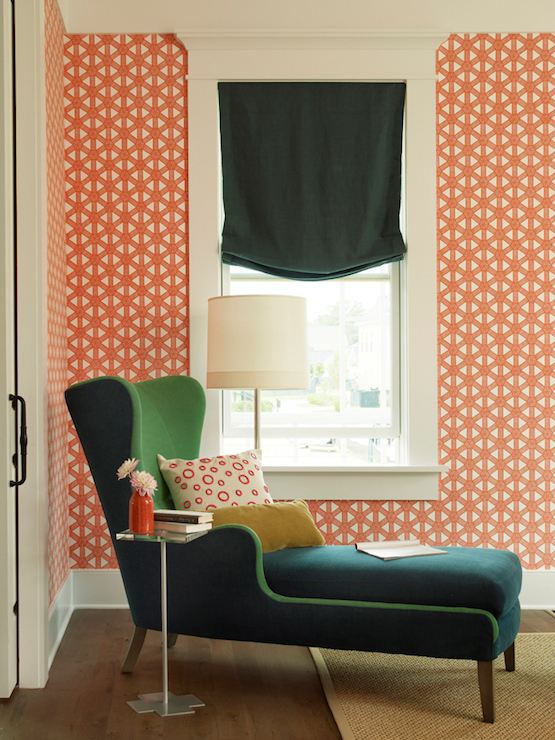 2013 Coastal Living Showhouse   Fun, Colorful Office Features Meg Braff  Designs Sasa Tangerine On White Wallpaper As Well As Peacock Blue Wingback  Chaise ...