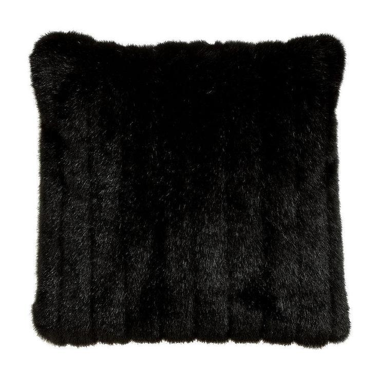 Black Mink Faux Fur Square Pillow