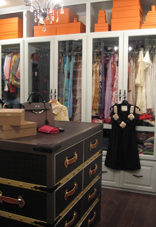 The Purse Blog   Amazing Walk In Closet Features Open Cubbies Over  Glass Front Wardrobe Cabinets As Well As Crystal Chandelier Over Trunk Used  As Closet ...