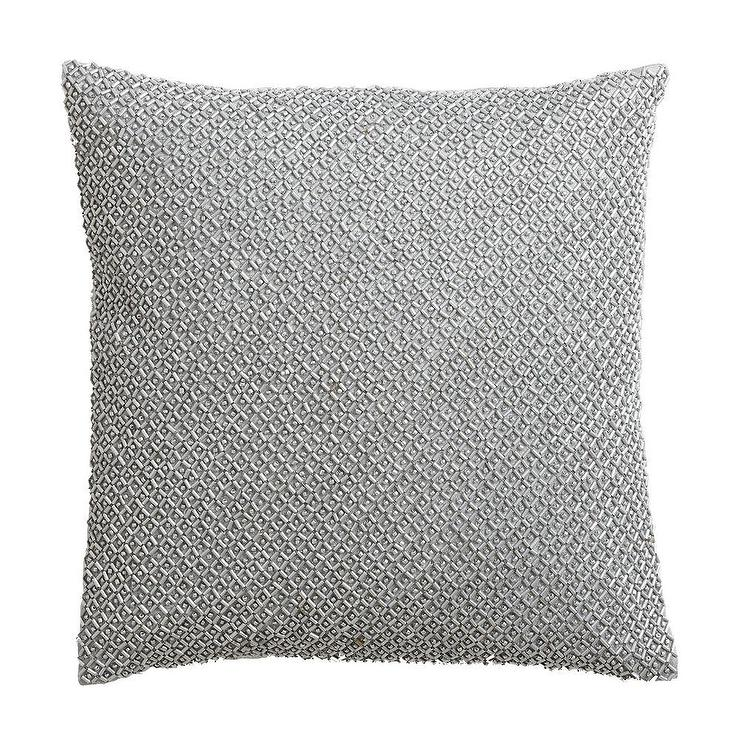 Silver Beaded Square Pillow