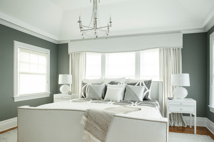 Gray Valances With White Trim : White cornice box with gray ribbon trim design ideas