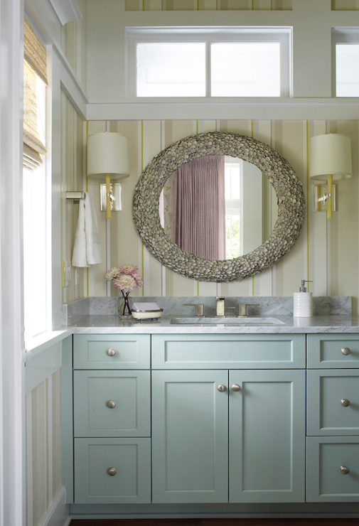 Blue Washstand Cottage Bathroom Sherwin Williams Quietude Coastal Living