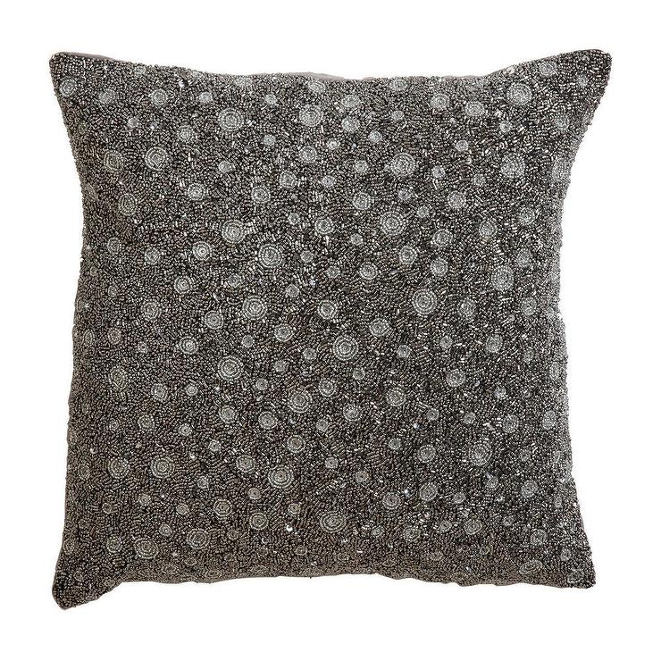 Silver Beaded Decorative Pillow : Silver Beaded Square Pillow