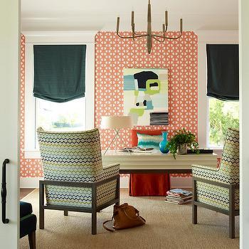 Lattice Wallpaper, Contemporary, den/library/office, Coastal Living