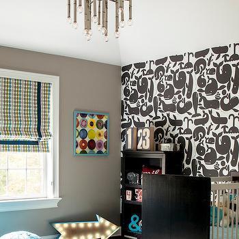 Wallpaper for Nursery, Contemporary, nursery, Karen B Wolf Interiors
