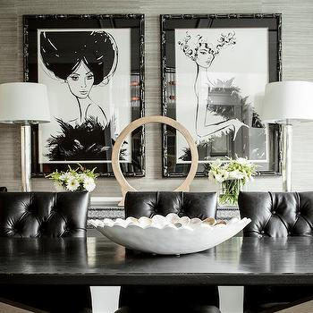 Black Leather Dining Chairs, Contemporary, dining room, Karen B Wolf Interiors