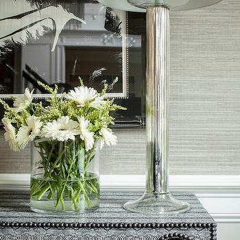 Platinum Gray Grasscloth Contemporary Dining Room