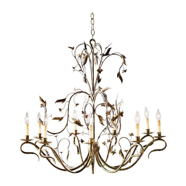 Nine Light Arcadia Gold Leaf Chandelier
