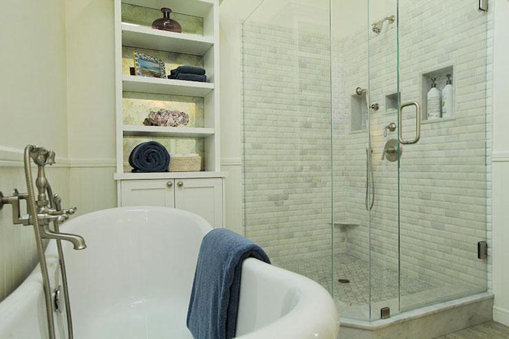 Corner Shower Shelves - Transitional - bathroom - Sherwin Williams ...