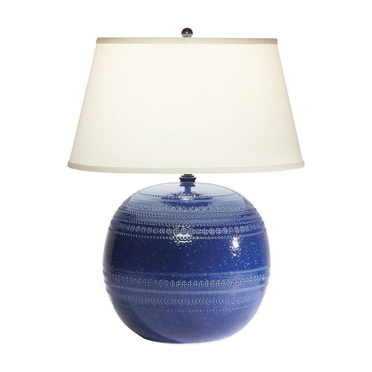 Blue Ceramic Round Table Lamp