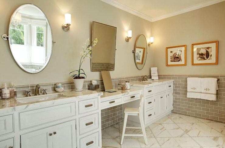 Gray Subway Tiles Transitional Bathroom Jenn Feldman