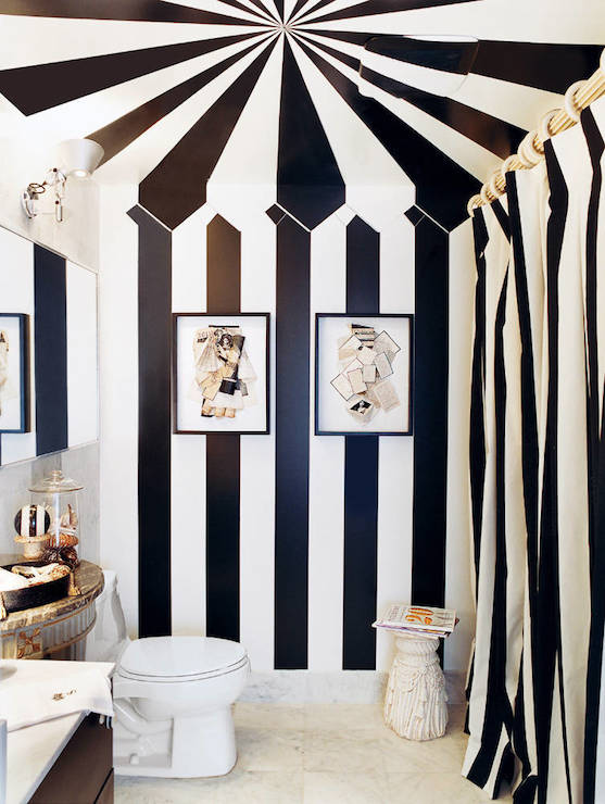 Black and white striped curtains design decor photos - Black and white striped wall ...