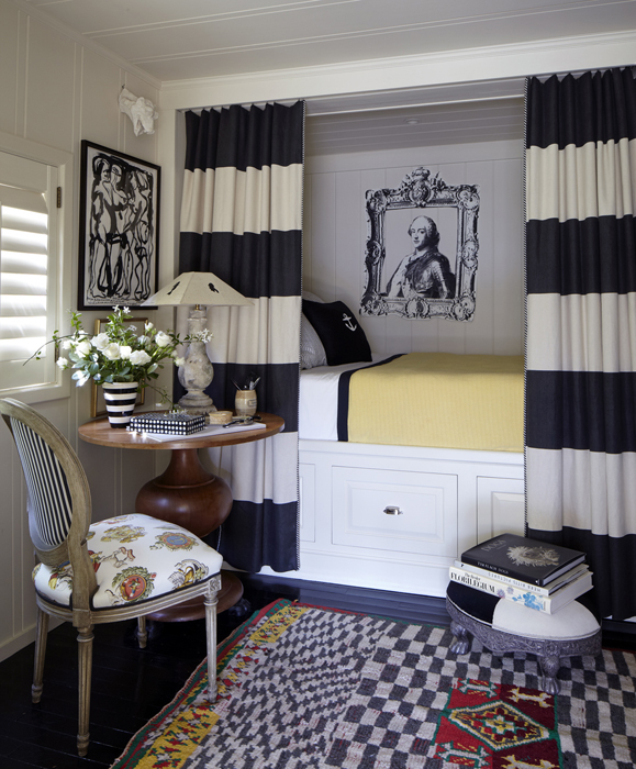 Horizontal Stripe Curtains Eclectic Bedroom Stephen