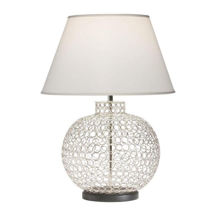 Openweave nickel orb shaped table lamp