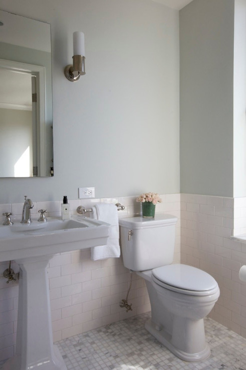 Charming Half Tiled Bathroom Ideas Part - 2: Elegant Bathroom With Green Gray Walls On Upper Half Of Walls And Subway  Tile Son Bottom Half Of Walls Framing Rectangular Frameless Mirror Over  Pedestal ...