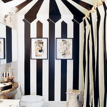 Black and White Shower Curtain, Eclectic, bathroom, Stephen Shubel Design