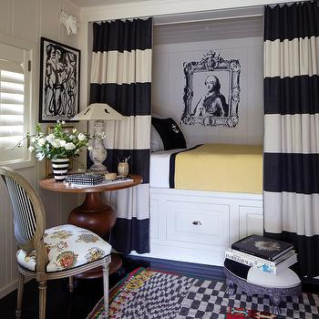 Horizontal Stripe Curtains, Eclectic, bedroom, Stephen Shubel Design