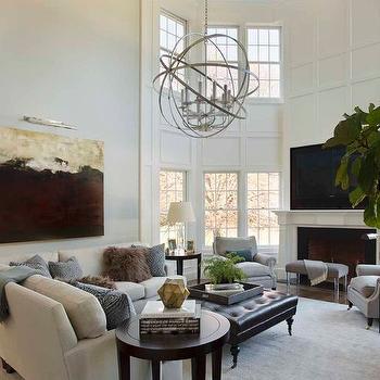 2 Story Living Room, Transitional, living room, Liz Caan Interiors