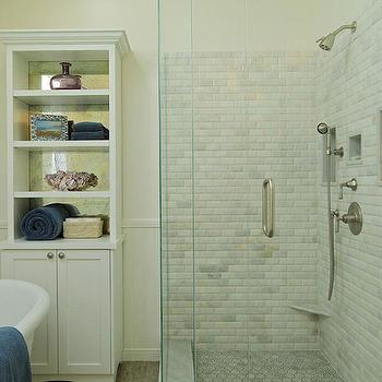 Beveled Marble Tiles, Transitional, bathroom, Jenn Feldman Designs