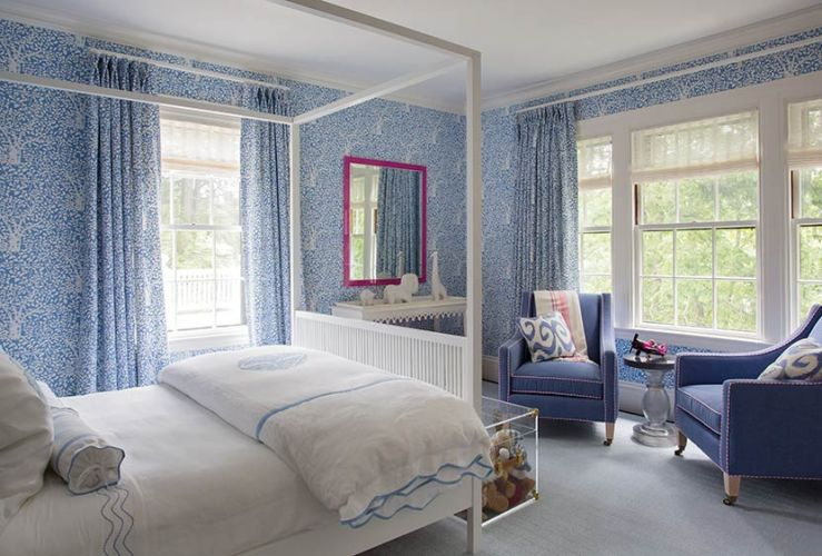 White and blue kids room contemporary girl 39 s room liz caan interiors - Modele chambre adulte ...