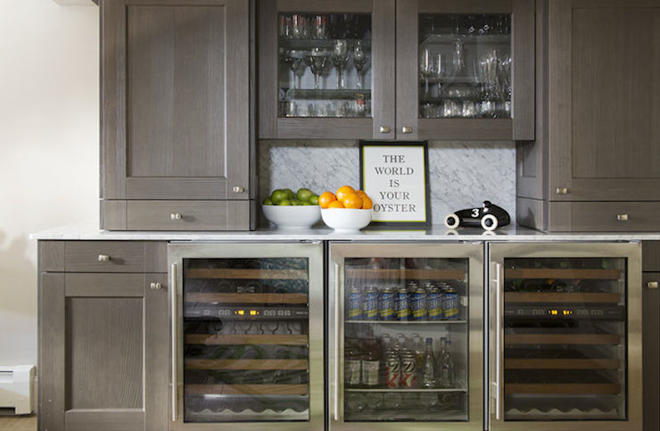 Glass Front Mini Fridge Transitional Kitchen Liz