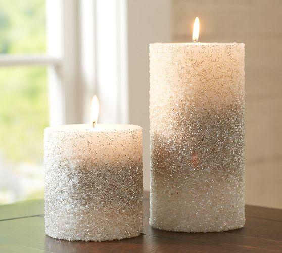 Silver Beaded Pillar Candles