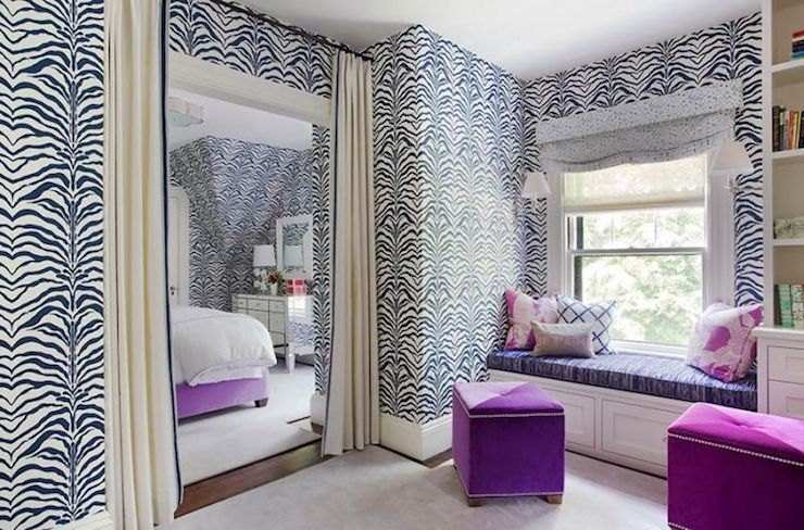 Zebrine wallpaper contemporary bedroom liz caan interiors - Exciting image of home decoration using pink zebra wallpaper ...