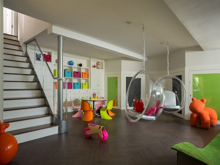 Basement playroom contemporary basement liz caan for Playroom floor ideas