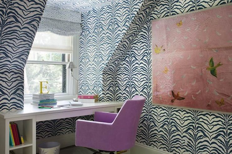 Chic Home Office Features Pink Aviary Art On Navy Blue Zebra Wallpaper Rose Cumming Zebrine