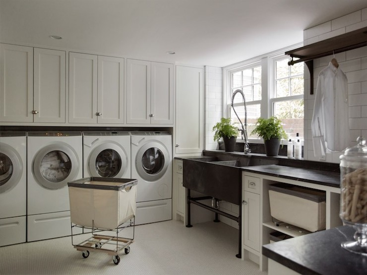 Laundry Room In Basement Transitional Laundry Room