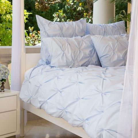 The Valencia Light Blue Pintuck Duvet Cover Set Crane
