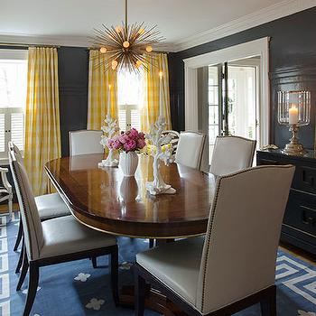 Yellow Curtains, Eclectic, dining room, Liz Caan Interiors