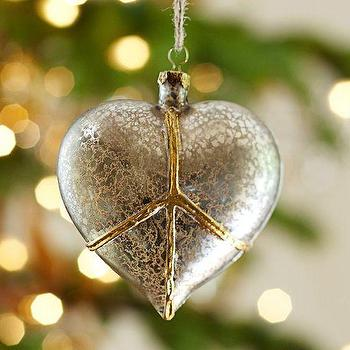 Peace Heart Glass Ornament, Pottery Barn