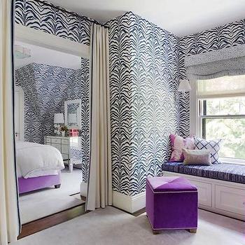 Zebrine Wallpaper, Contemporary, bedroom, Liz Caan Interiors