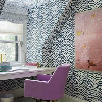 navy zebra wallpaper contemporary den library office