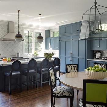 Blue Kitchen Cabinets, Contemporary, kitchen, Liz Caan Interiors