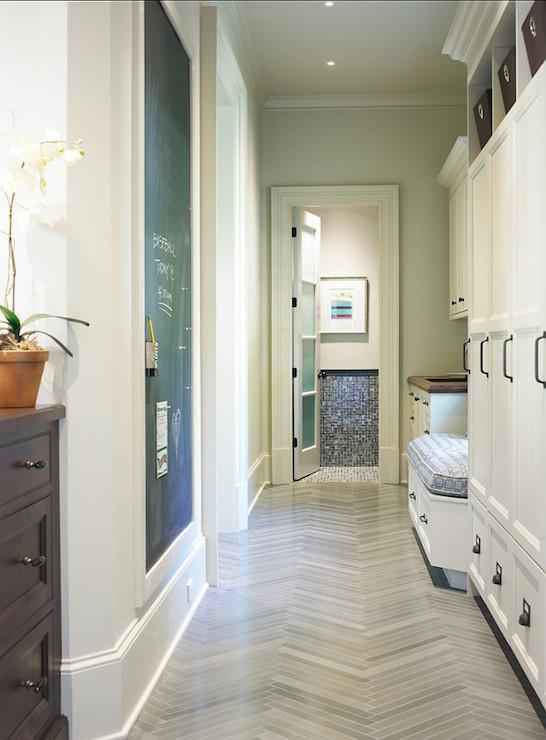Slate Herringbone Tiles Contemporary Laundry Room