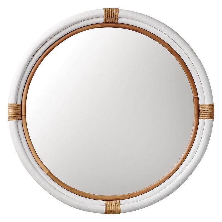 Montara Round White and Rattan Mirror