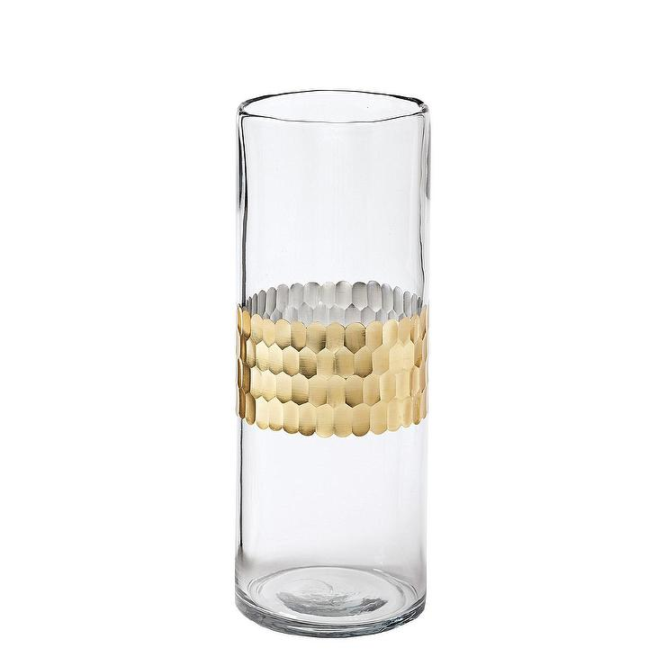 Plated Gold Stripe Glass Vase