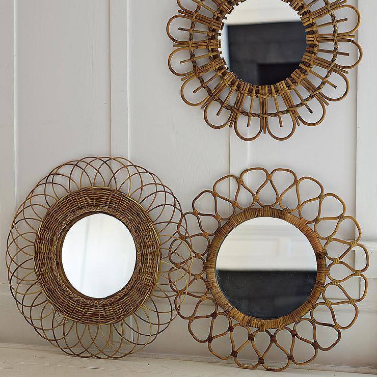 Rattan Wall Decor Round : Rattan woven round geometric mirrors