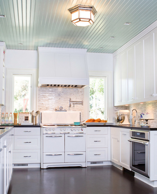 Turquoise Blue Ceiling Transitional Kitchen Benjamin