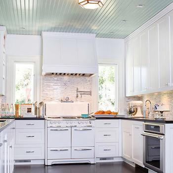 Turquoise Blue Ceiling, Transitional, kitchen, Benjamin Moore Bali, Charmean Neithart Interiors