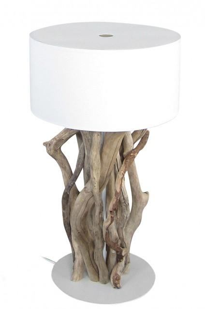 Complique Driftwood Base White Shade Table Lamp