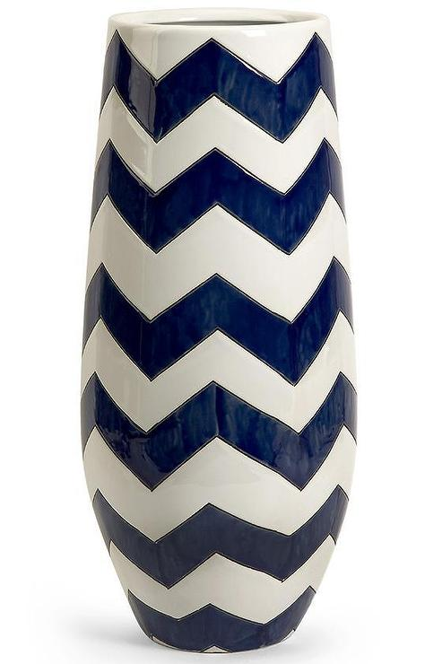 Navy And White Chevron Vase