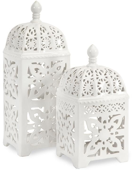 Set Of 2 Maya Pierced White Lanterns