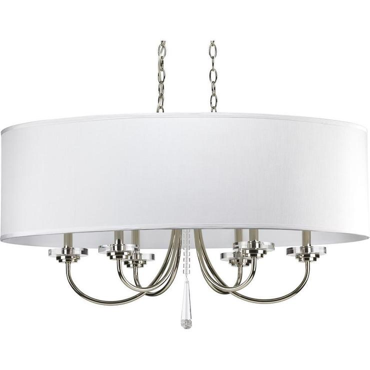 Drum Shade Silver And Crystal Six Light Oval Chandelier - Chandelier with shades and crystals