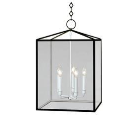 Black and Glass Lantern Shape Rectangular Pendant