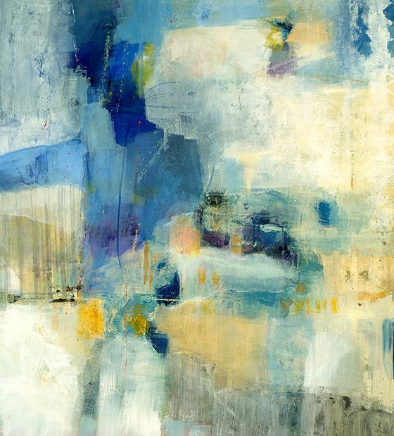 yellow and blue abstract wall art